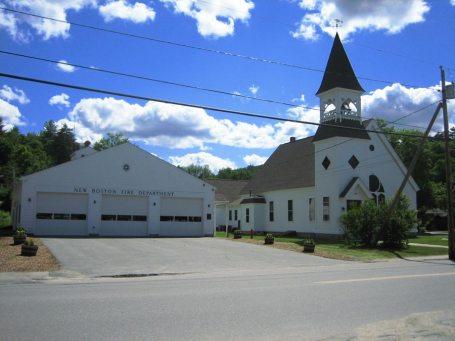 New Boston Fire Station and Church, New Boston Center